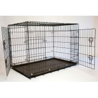Iconic Pet 42in Foldable Double Door Pet Dog Cat Training Crate with Divider