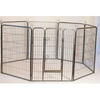 Iconic Pet - Heavy Duty Metal Tube pen Pet Dog Exercise and Training Playpen - 24in Height