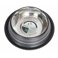 Color Splash Stripe Non-Skid Pet Bowl 64oz - Black