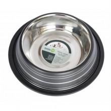 Color Splash Stripe Non-Skid Pet Bowl 64oz - Black