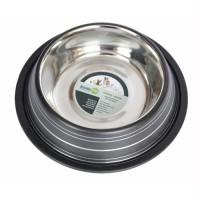 Color Splash Stripe Non-Skid Pet Bowl 96oz - Black
