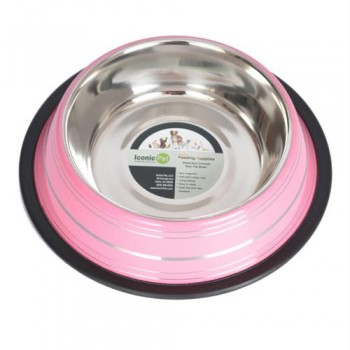 Color Splash Stripe Non-Skid Pet Bowl 32oz - Pink