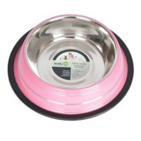 Color Splash Stripe Non-Skid Pet Bowl 96oz - Pink