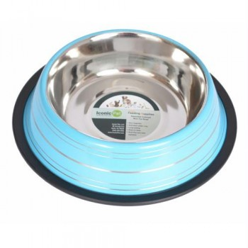 Color Splash Stripe Non-Skid Pet Bowl 24oz - Blue