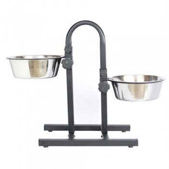 Iconic Pet Adjustable Stainless Steel Pet Double Diner for Dog (U Design) - 3 Qt - 96oz - 12 cup