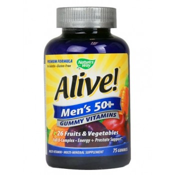 Natures Way Alive! Mens 50+ Gummy Multi-Vitamins - 75 Chewables