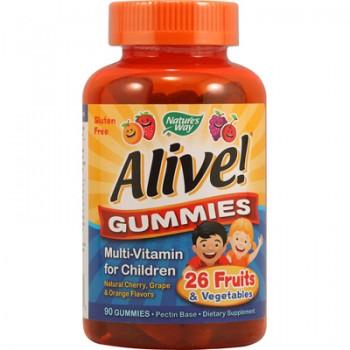 Nature's Way Alive! Gummies Multi-Vitamin for Children Natural Cherry Grape and Orange - 90 Gummies