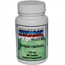 Nutrient Carriers Advanced Research Lithium Orotate - 120 mg - 200 Tablets