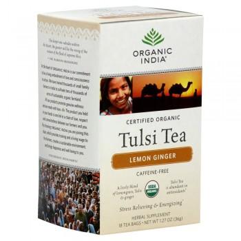 Organic India Tulsi Tea Lemon Ginger - 18 Tea Bags - Case of 6