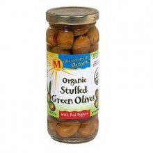 Mediterranean Organics Stuffed Green Olives Red Peppers (12x8.5Oz)