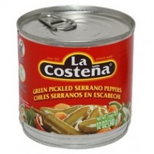 La Costena Green Pickled Serrano Peppers (12x12Oz)